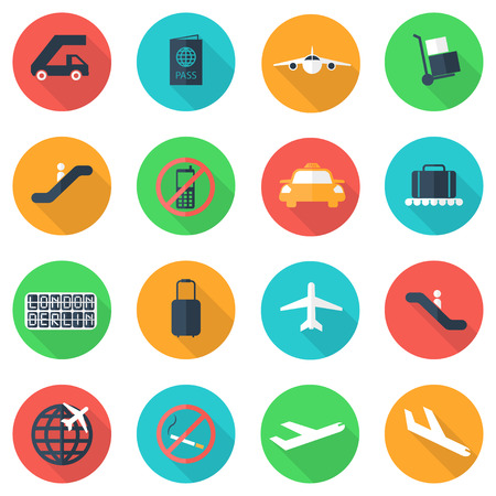 arrival: Vector flat airport icons set on color background. Airport and airlines services. Long shadow. Airport Icon Object, Airport Icon Picture, Airport Icon Image, Airport Icon Graphic - stock vector