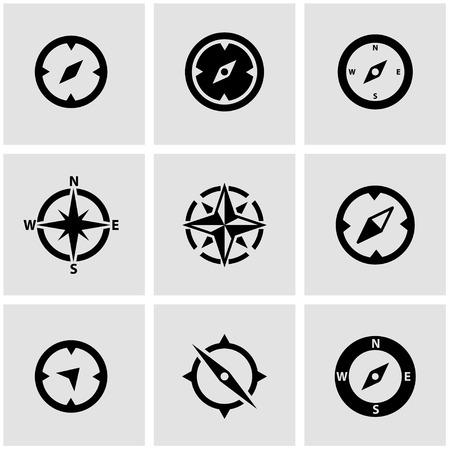 bussola: Vettore bussola nero icon set. Vettoriali
