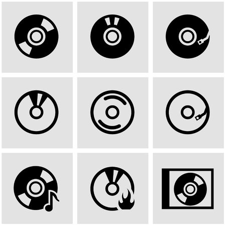 Vector black cd icon set.