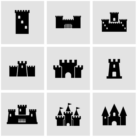castello medievale: Vector castello nero icon set.