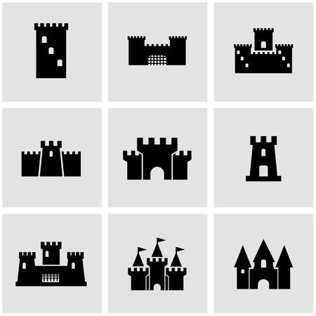 castillo medieval: Vector castillo negro conjunto de iconos.