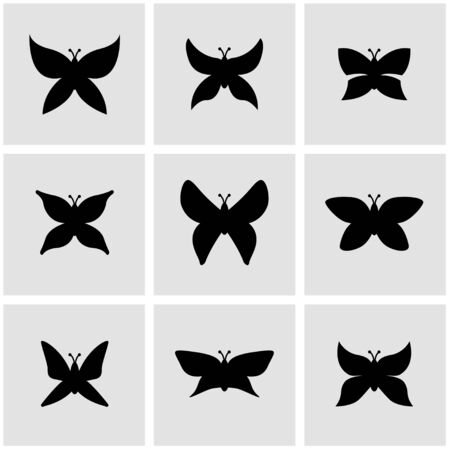 insect flies: Vector black butterfly icon.