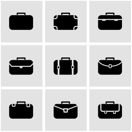 Vector black briefcase icon set.   Illustration