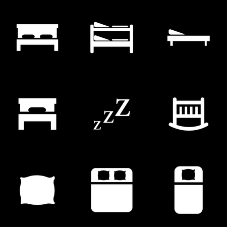 hotel bed: Vector white bed icon set.  Illustration