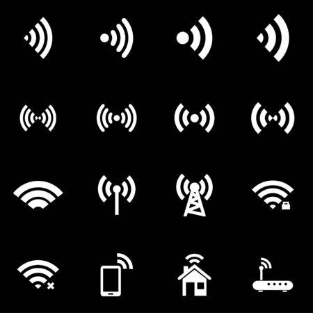 wireless signal: Vector white wireless icon set.   Illustration