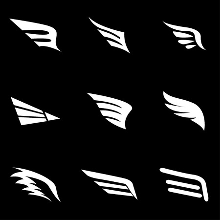 black wings: Vector white wing icon set.