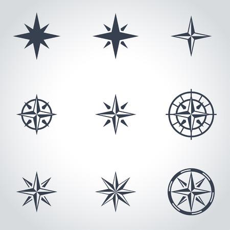 rose wind: Vector viento negro se levant� conjunto de iconos Vectores