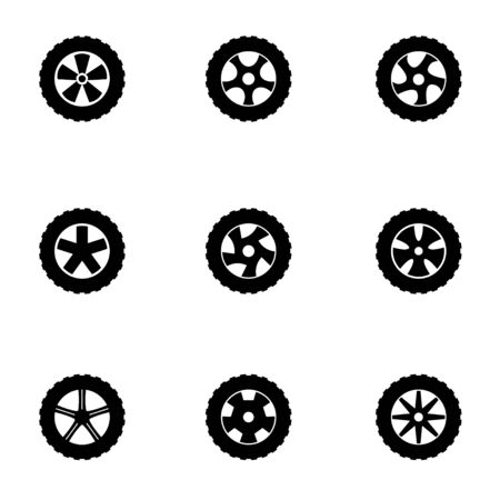steering wheel: Vector black wheel icon set.