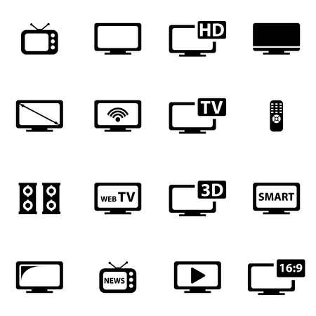 Vector zwarte tv icon set. Stock Illustratie
