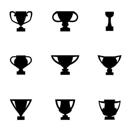 trofeo: Vector icono trofeo negro ajustado. Vectores