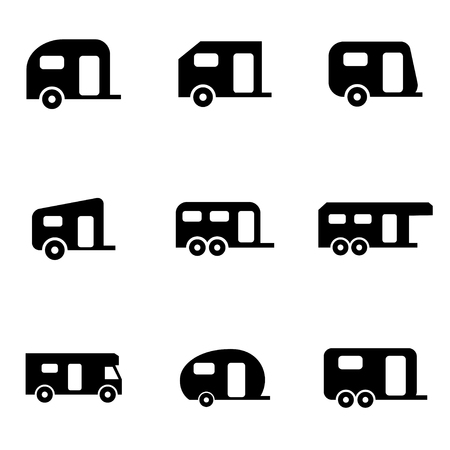 caravan: Vector black trailer icon set.