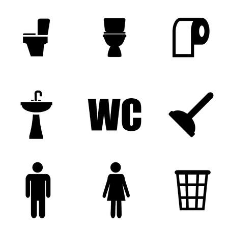 woman on toilet: Vector black toilet icon set.