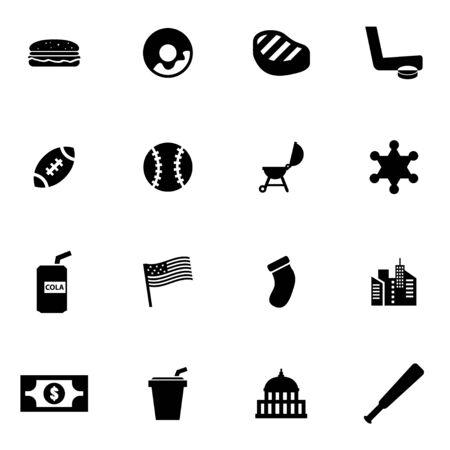 flags usa: Vector black usa icon set.
