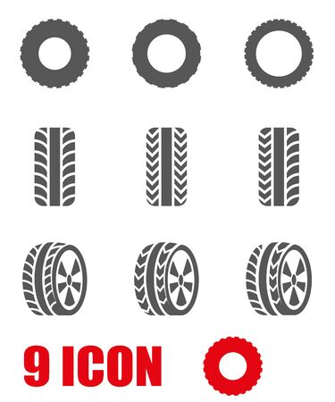 tire shop: Vector black tire icon set  Illustration