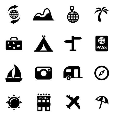 travel: Wektor czarny zestaw ikon podróży