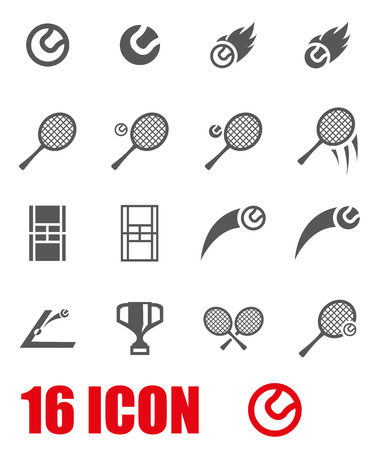sports equipment: Vector grey tennis icon set.