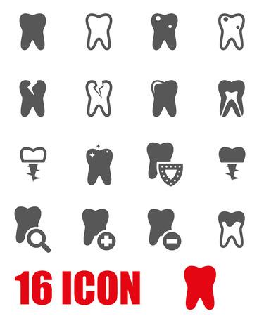 teeth: Vector grey teeth icon set.
