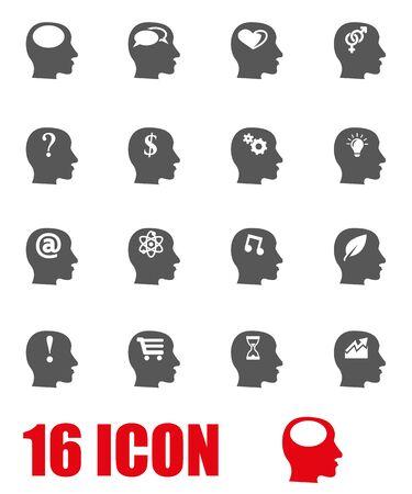 pensamiento creativo: Vector pensamientos grises conjunto de iconos. Vectores