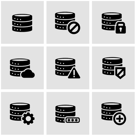 database server: Vector black database icon set.