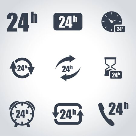 24: Vector black 24 hours icon set. 24 hours Icon Object,  24 hours  Icon Picture, 24 hours Icon Image,  24 hours Icon Graphic,  24 hours Icon JPG,  24 hours Icon EPS,  24 hours Icon AI - stock vector Illustration