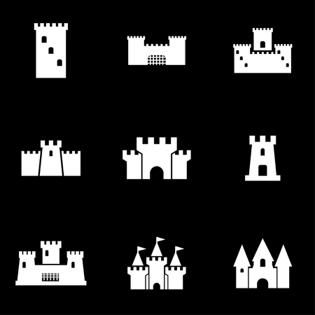 castillos: Vector castillo blanco conjunto de iconos. Castillo Icono Objeto, Castillo Icono Imagen, Castillo Icono Imagen, Castillo Icono Gráfico, Castillo Icono JPG, Castillo Icono EPS, AI Castillo Icon - Imagen vectorial