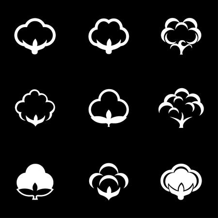 cotton: Vector white cotton icon set. Cotton Icon Object,  Cotton  Icon Picture,  Cotton Icon Image,  Cotton Icon Graphic,  Cotton Icon JPG,  Cotton Icon JPEG,  Cotton Icon EPS,  Cotton Icon AI - stock vector