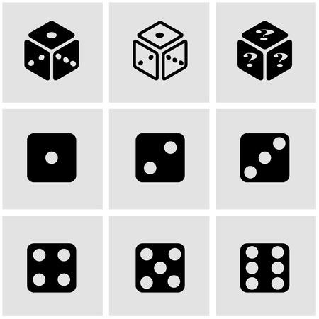 dice: Vector black dice icon set. Dice Icon Object, Dice  Icon Picture, Dice Icon Image, Dice Icon Graphic, Dice Icon JPG, Dice Icon EPS, Dice Icon AI - stock vector