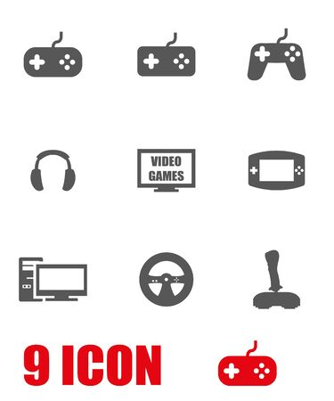 Vector grey video games icon set. Video games Icon Object, Video games  Icon Picture, Video games Icon Image, Video games Icon Graphic, Video games Icon JPG, Video games Icon EPS - stock vector