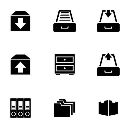 Vector black archive icon set. Archive Icon Object, Archive Icon Picture, Archive Icon Image, Archive Icon Graphic, Archive Icon JPG, Archive Icon EPS, Archive Icon AI - stock vector