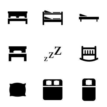 ベクトル黒ベッド アイコンを設定。ベッドの Icon オブジェクト、ベッド アイコン画像、ベッドのアイコン画像、ベッドのアイコン グラフィック、
