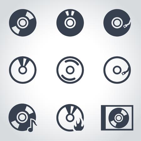 cd: Vector black cd icon set. CD Icon Object,  CD  Icon Picture, CD Icon Image,  CD Icon Graphic,  CD Icon JPG,  CD Icon EPS,  CD Icon AI - stock vector