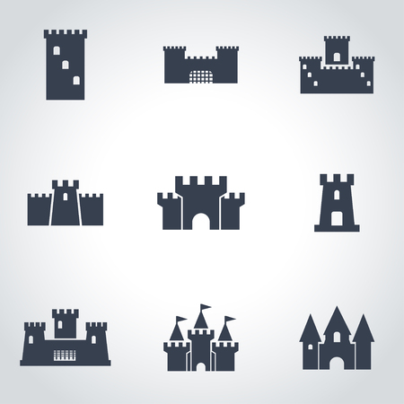 Vector black castle icon set. Castle Icon Object,  Castle  Icon Picture, Castle Icon Image,  Castle Icon Graphic,  Castle Icon JPG,  Castle Icon EPS,  Castle Icon AI - stock vector