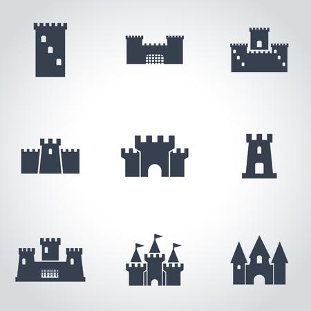 castle buildings: Vector black castle icon set. Castle Icon Object,  Castle  Icon Picture, Castle Icon Image,  Castle Icon Graphic,  Castle Icon JPG,  Castle Icon EPS,  Castle Icon AI - stock vector