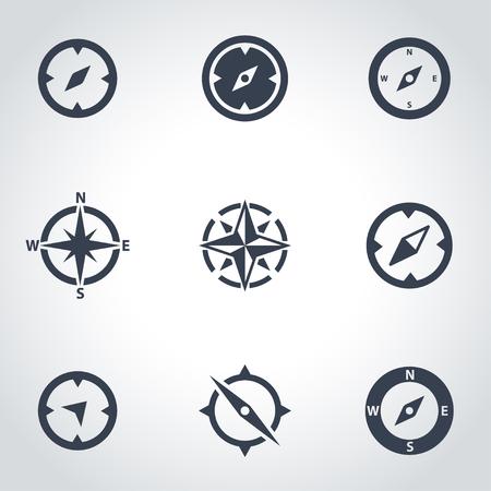 directions icon: Vector black compass icon set. Compass Icon Object,  Compass  Icon Picture,  Compass Icon Image,  Compass Icon Graphic,  Compass Icon JPG,  Compass Icon EPS,  Cotton Icon AI - stock vector Illustration