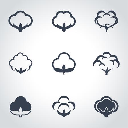 ベクトル黒綿アイコンを設定。綿 Icon オブジェクト、綿アイコン画像、綿アイコン画像、綿のアイコン グラフィック、綿アイコン JPG、綿アイコン JP