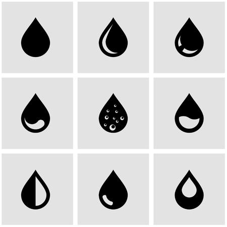 kropla deszczu: Wektor zestaw ikon czarnej listy rozwijanej. Spadek Ikona Object, Kropla Ikona Obraz, Kropla Ikona Image - Grafika wektorowa