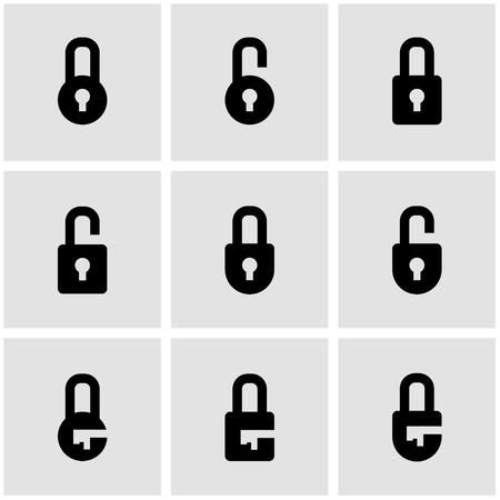Vector zwarte sloten icon set. Sluizen Icon Object, sloten Icon Beeld, sloten pictogram - Stock Vector