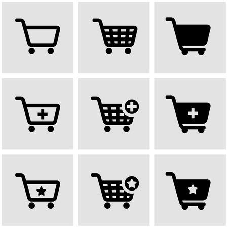 Vector zwarte winkelwagentje icon set. Winkelwagentje icon object, winkelwagen Icon Beeld, boodschappenwagentje pictogram - Stock Vector