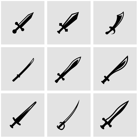 sword fight: Vector black sword icon set. Sword Icon Object, Sword Icon Picture, Sword Icon Image - stock vector