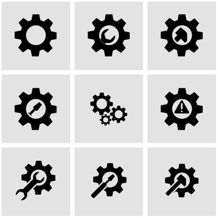 background settings: Vector black tools in gear icon set. Tools in gear Icon Object, Tools in gear Icon Picture, Sword Icon Image - stock vector Illustration