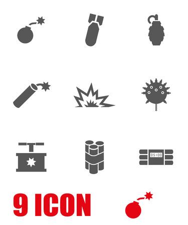 bomb explosion: Vector grey bomb icon set. Bomb Icon Object,  Bomb  Icon Picture, Bomb Icon Image,  Bomb Icon Graphic,  Bomb Icon JPG,  Bomb Icon EPS,  Bomb Icon AI - stock vector