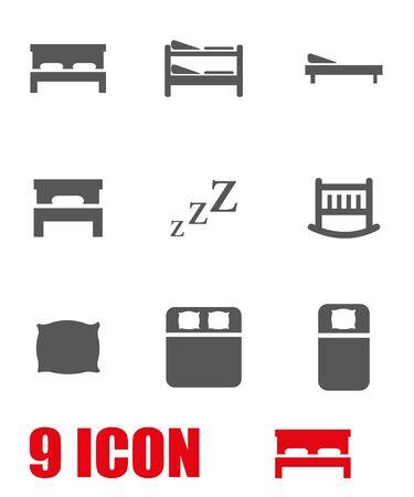 cama: set vector icono de la cama de color gris. Icono Objeto cama, cama icono de imagen, imagen de icono cama, cama del icono gráfico, icono cama JPG, EPS cama Icon, Icon cama AI - Imagen vectorial