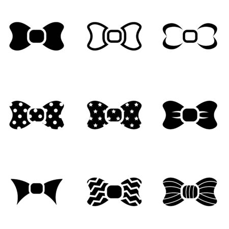black bow: Vector black bow ties icon set. Bow ties Icon Object,  Bow ties  Icon Picture, Bow ties Icon Image,  Bow ties Icon Graphic,  Bow ties Icon JPG,  Bow ties Icon AI - stock vector Illustration