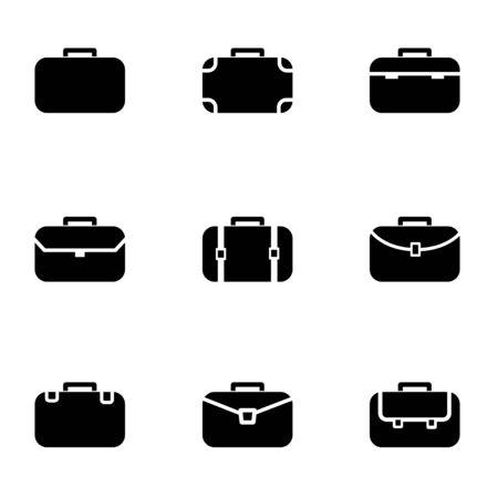black briefcase: Vector black briefcase icon set. Briefcase Icon Object,  Briefcase  Icon Picture, Briefcase Icon Image,  Briefcase Icon Graphic,  Briefcase Icon JPG,  Briefcase Icon EPS - stock vector