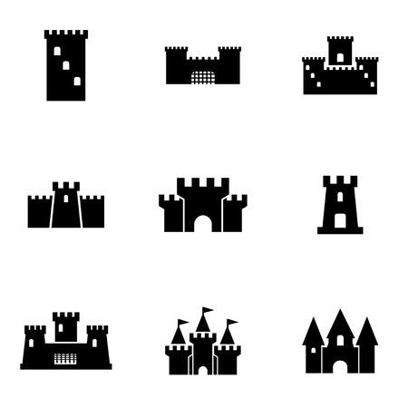 Vector zwart kasteel icon set. Kasteel Icon Object, Kasteel Icon Beeld, Kasteel Icon Image, Kasteel Icon Graphic, Kasteel Icon JPG, Kasteel Icon EPS, Kasteel Icon AI - voorraad vector