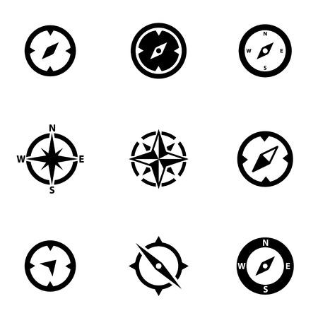 brujula: set vector icono de brújula negro. Brújula Icono Objeto, brújula icono de imagen, imagen de icono brújula, brújula gráfica del icono, Brújula Icono JPG, Brújula Icono EPS, algodón Icono AI - Imagen vectorial