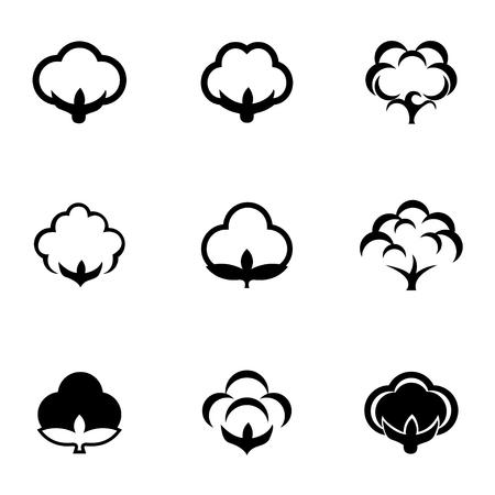 Conjunto de iconos de vector negro algodón. Objeto de icono de algodón, imagen de icono de algodón, imagen de icono de algodón, gráfico de icono de algodón, icono de algodón JPG, icono de algodón JPEG, icono de algodón EPS, icono de algodón AI - vector stock