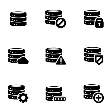 Vector black database icon set. Database Icon Object, Database  Icon Picture, Database Icon Image, Database Icon Graphic, Database Icon JPG, Database Icon EPS, Database Icon AI - stock vector Illustration