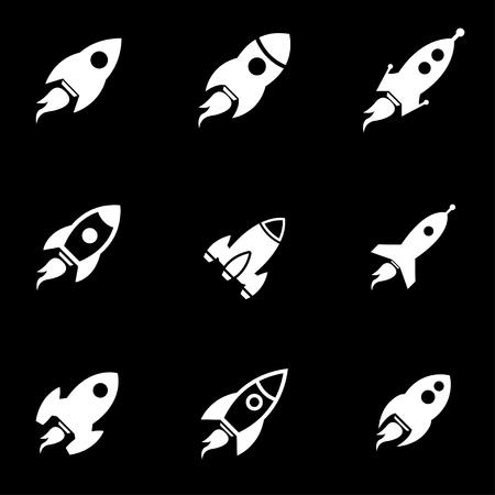 rocket: Vector white rocket icon set. Rocket Icon Object, Rocket Icon Picture, Rocket Icon Image - stock vector