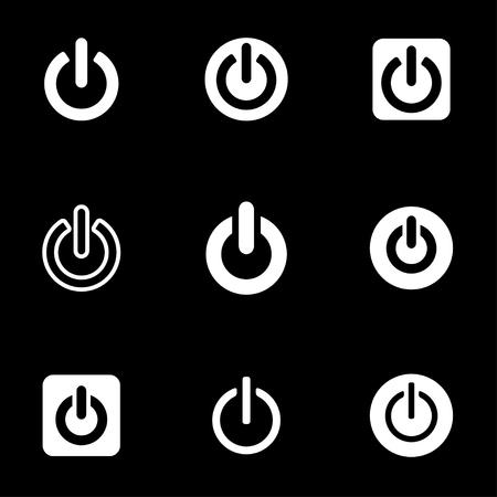 shut: Vector white shut down icon set. Shut down Icon Object, Shut down cart Icon Picture, Shut down Icon Image - stock vector Illustration